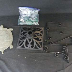 """Lot #248 Umbrella Stand, Plant Hangers and Large """"Lawn"""" Turtle"""