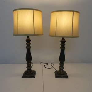 """Lot #252 Pair of Mediterranean-Style 30"""" Tall Table Lamps"""