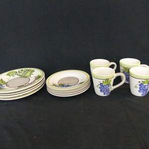 Lot #253 Tabletops Unlimited Stayfalia Grape Hand Crafted/Hand Painted China (See Description)