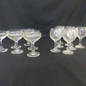 Lot #254 Set of 6 Short Old-Fashioned Champagne Glasses and Set of 7 Tasting Glasses