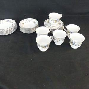 Lot #260 Sango Heather 3806 6 Each Bread & Butter Plates, Fruit Bowls and Cup & Saucer Sets