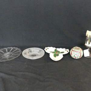 Lot #263 Holiday Decor and Serving Pieces (See Description)
