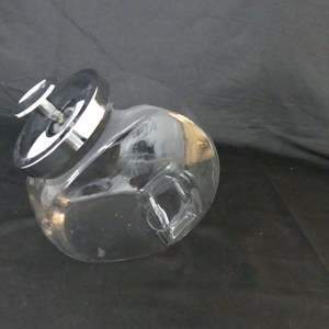 Lot #266 Vintage Glass Tilt Canister/Penny Candy Jar with Chrome Lid