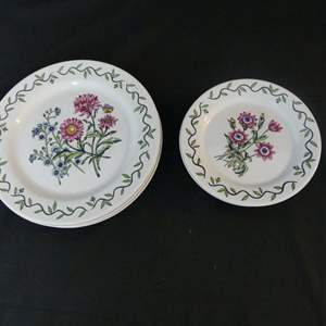 """Lot #270 International China Classic Settings Garden Path 073 -  3 10.875"""" Dinner Plates and 4 7.625"""" Salad Plates"""