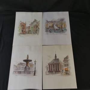 Lot #271 Mads Stage Portfolio - 4 Watercolor Prints (See Description)
