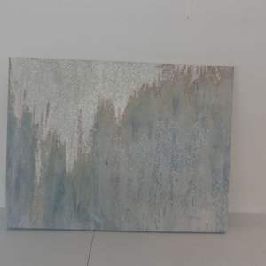 """Lot #282 Abstract/Glitter Piece Signed by Artist (Illegible) - 40"""" Width x 30"""" Height"""