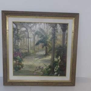 """Lot #285 Signed (Li) Haibin/Framed Art Print """"Inner Courtyard"""" - 40"""" Square"""