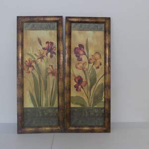 """Lot #286 Pair of Framed Lily Paintings - 16"""" Width x 40"""" Height Each"""