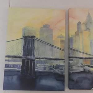 "Lot #287 2-Piece Maja Waronska Brooklyn Bridge/Pier 17 Watercolors - 10"" Width x 14"" Height Each"