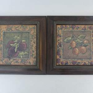 """Lot #288 Pair of Signed Rebecca (Carter)/Framed """"Kumquat Fig. 2"""" and """"Pomegranate Fig. 3"""" Pieces - 12"""" Square Each"""