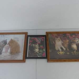Lot #290 3 Cat Themed Framed Art Pieces