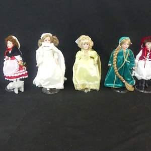 Lot #297 5 Danbury Mint The Storybook Doll Collection Porcelain Dolls - No COAs (See Description)