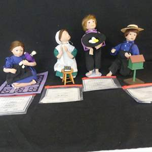 Lot #300 4 Edwin M. Knowles Amish Blessing by Julie Good-Krüger Porcelain Dolls - With COAs (See Description)