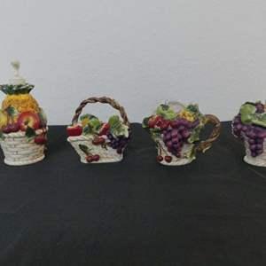 Lot #301 Vintage Ceramic Fruit Basket Liquid Soap Dispenser, Sponge/Napkin Holder and Sugar Bowl & Creamer