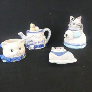 Lot #302 Vintage Cat Teapots, Cup and Spoon Rest including Avon Whimsical Cats