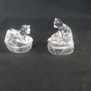 Lot #304 2 Avon Crystal Cats Collection Pieces - In Boxes (See Description)