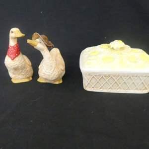 Lot #306 Vintage Ceramics by Dorene Hand Painted Goose & Gander Figurines and Daisy Basket Keepsake Box
