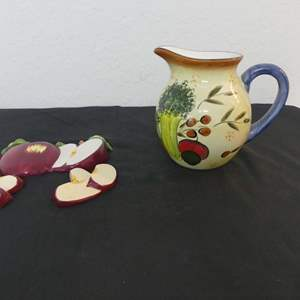 Lot #307 Small Vegetable Pattern Ceramic Pitcher and 3-Piece Ceramic Apple Wall Hangings
