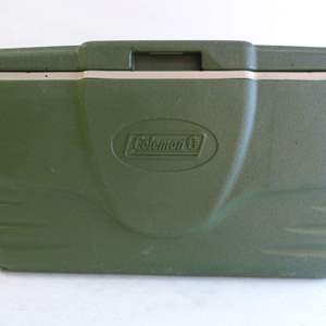 Lot # 29  Large Coleman cooler (good condition needs a little cleaning)