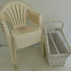 Lot # 175  4 plastic children's chairs & wicker magazine basket