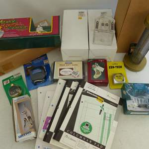 Lot # 241  Large grouping of stationary & holiday items (there are 2 churches and bases are in boxes)