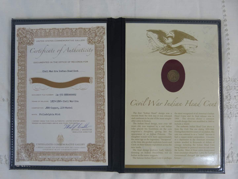 Lot # 110 Civil War Indian Head Penny in nice folder (main image)