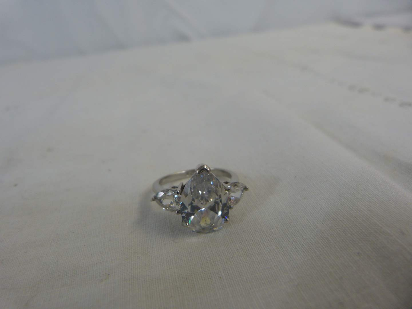 Lot # 136 Sterling .925 Ring size 7 1/2 with CZ (main image)