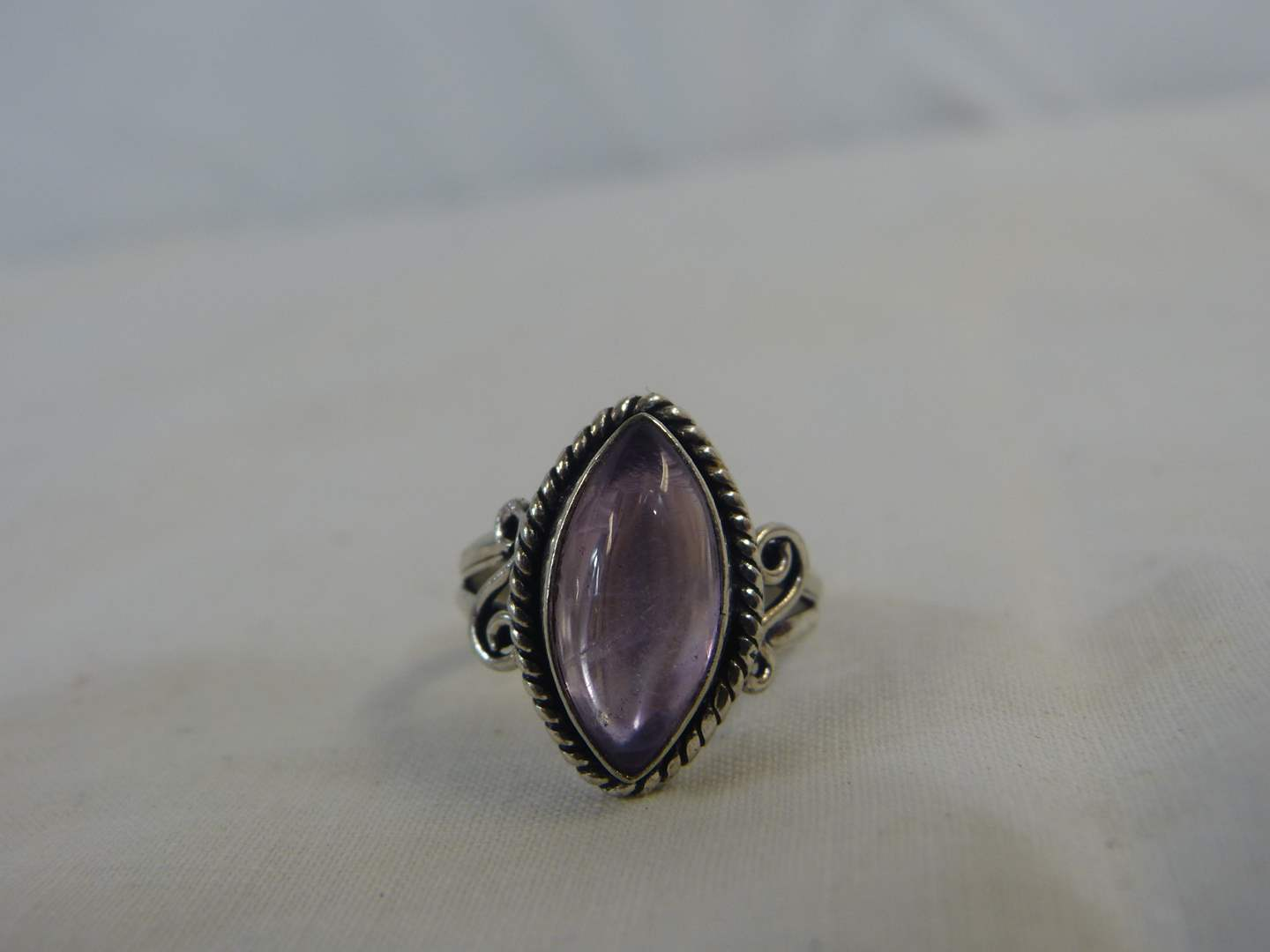 Lot # 139 Nice .925 Sterling & Amethyst Ring size 7 1/2 (main image)