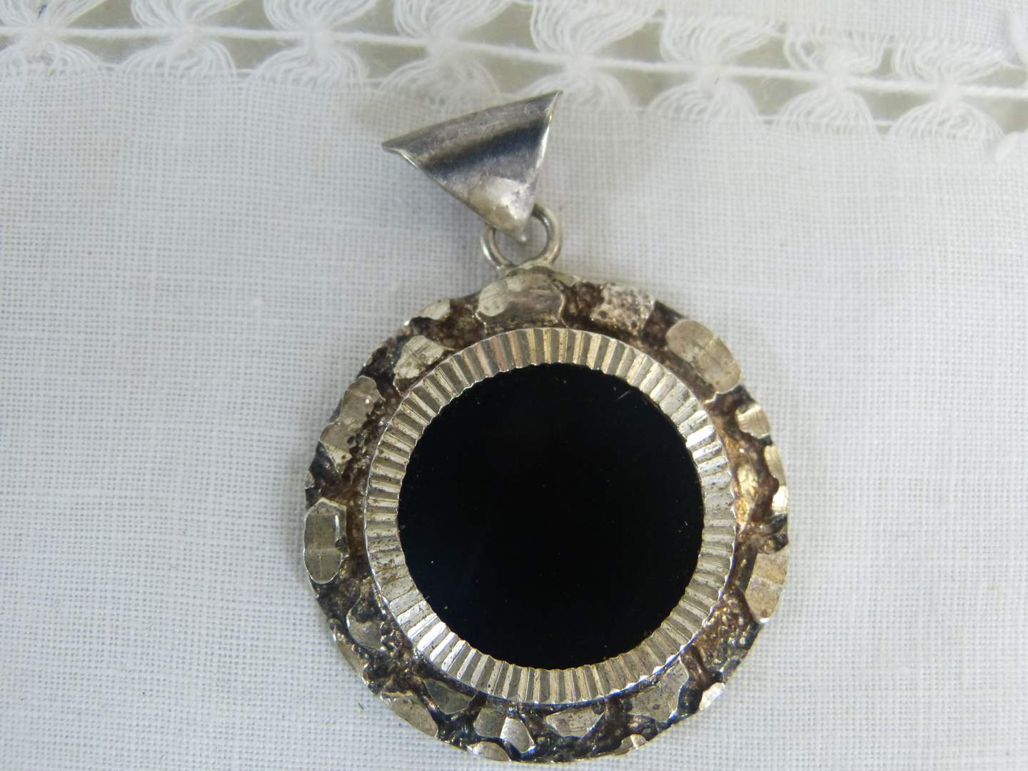 Lot # 145 Sterling and Onyx pendant (main image)