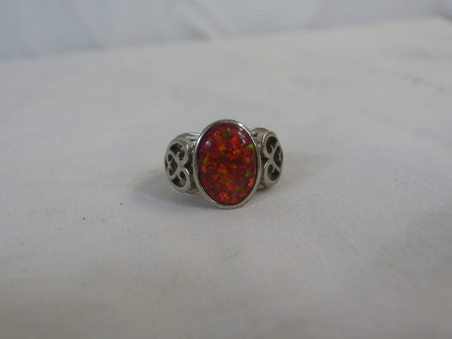 Lot # 148 Sterling & Amber? stone size 7 ring (main image)