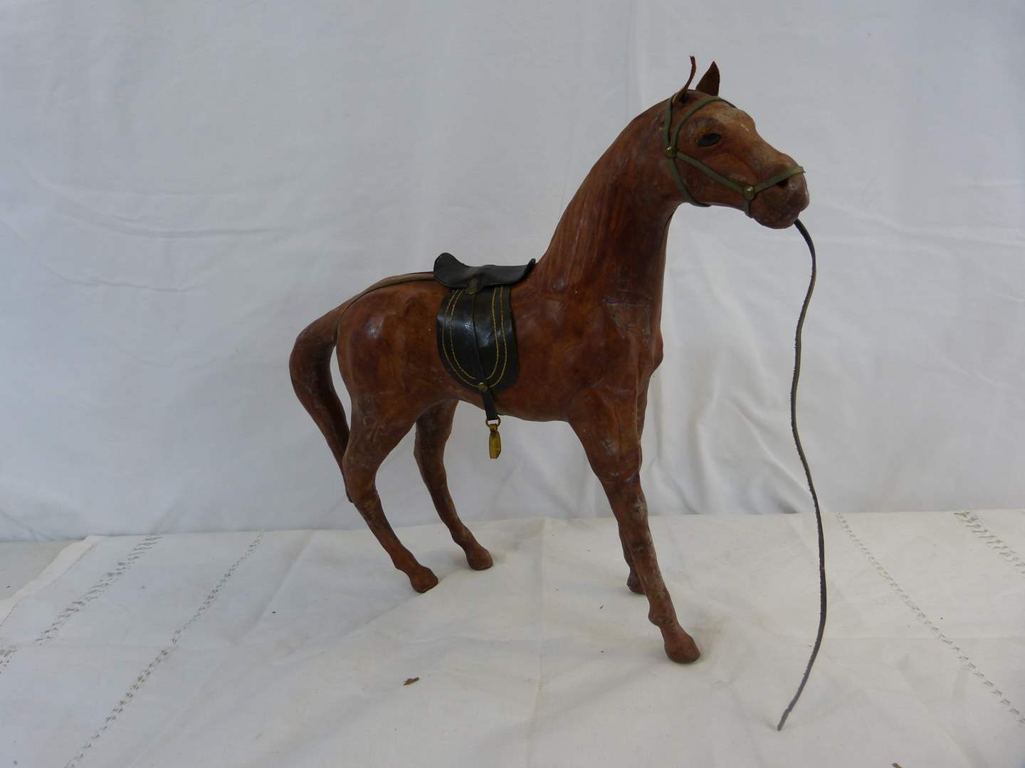 """Lot # 9 Awesome leather covered Horse 14"""" long 12"""" tall in excellent condition (main image)"""