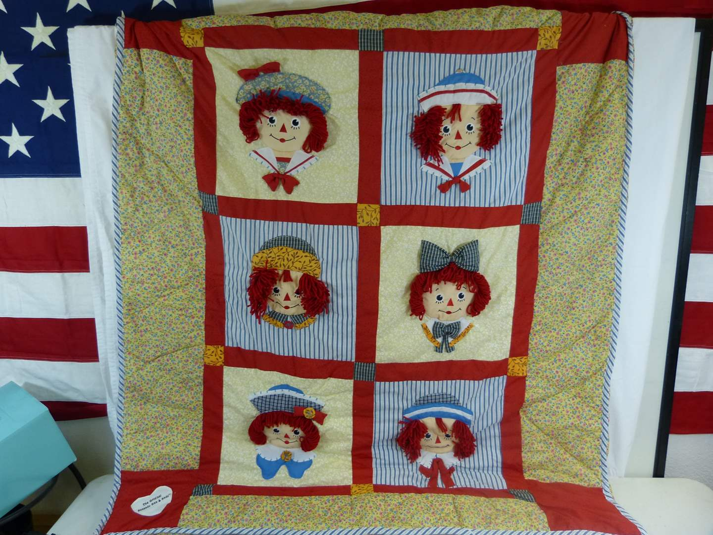 """Lot # 11 51X43"""" Raggedy Ann and Andy hand made quilt (good overall condition) (main image)"""
