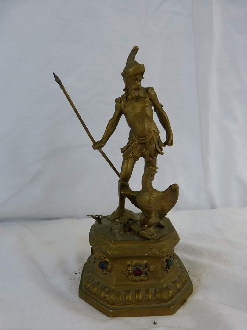 "Lot # 17 Painted Metal viking vintage statue 7"" tall (main image)"