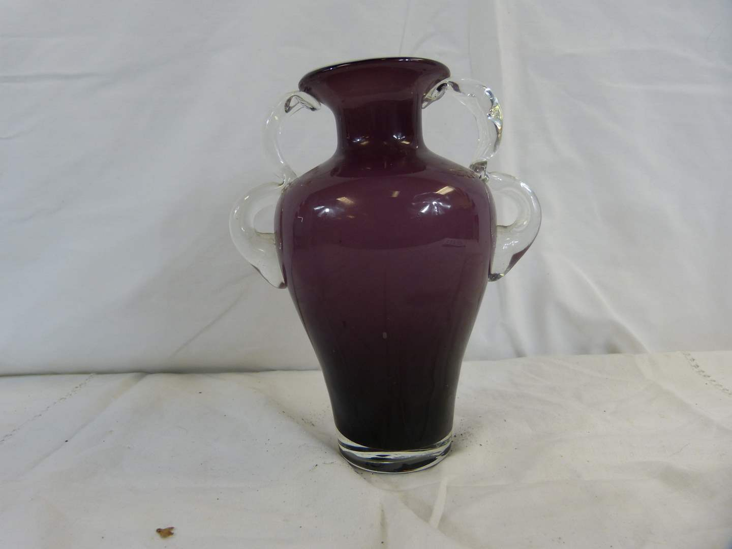 """Lot # 28 Double purple to white case glass 8"""" vase with clear applied handles (main image)"""