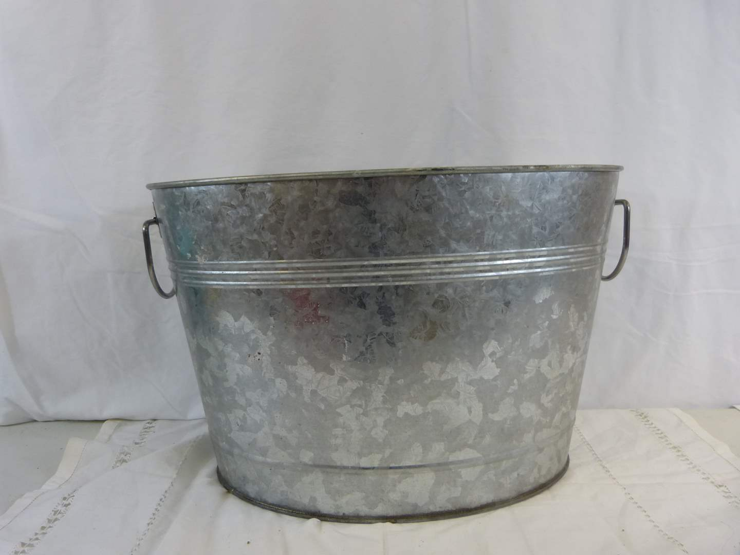 Lot # 37 Double handle galvanized metal beverage pail (main image)