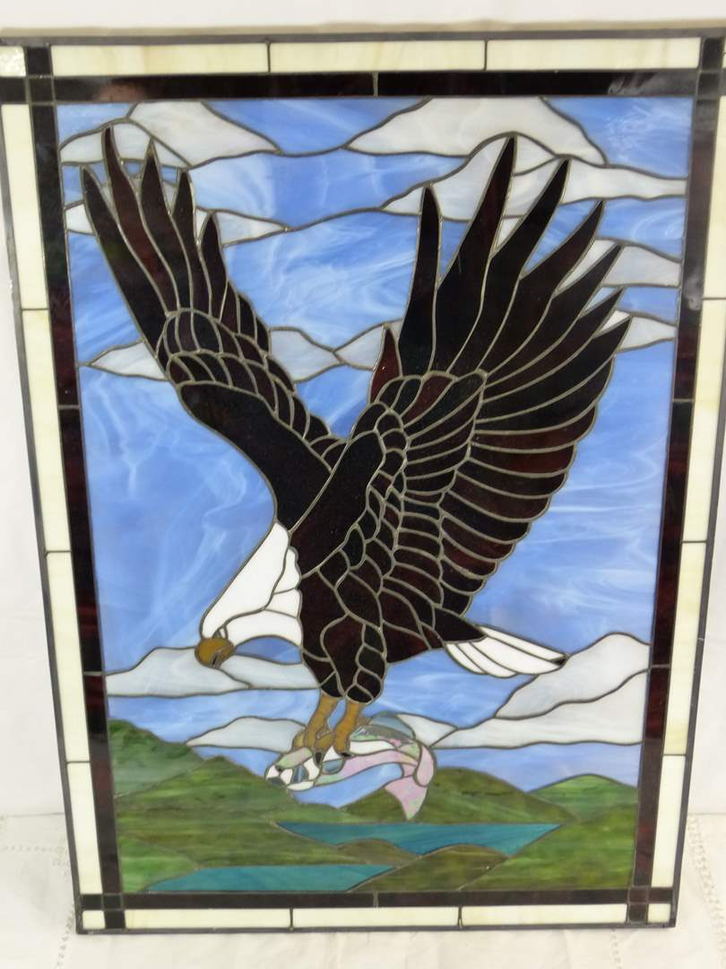 """Lot # 57 AWESOME HAND MADE Stain Glass Eagle 28X20"""" VERY IMPRESSIVE and HEAVY (main image)"""