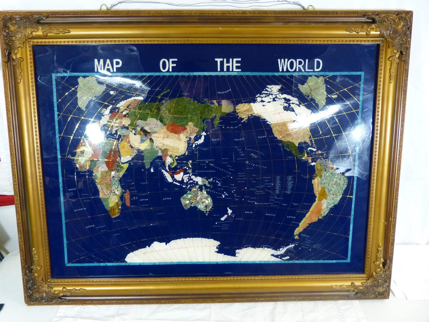 """Lot # 58 HEAVY wall hanger """"Map of the World"""" 38X27"""" Reverse applied GREAT FRAME (main image)"""