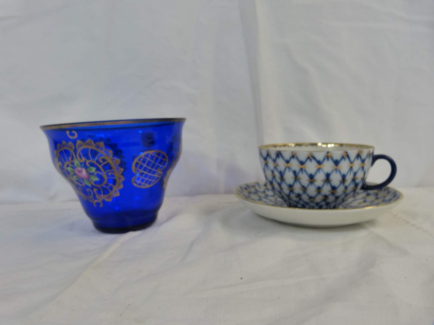 "Lot # 62 Vintage cup and saucer with CZECH hand painted 5"" tall cobalt dish (main image)"