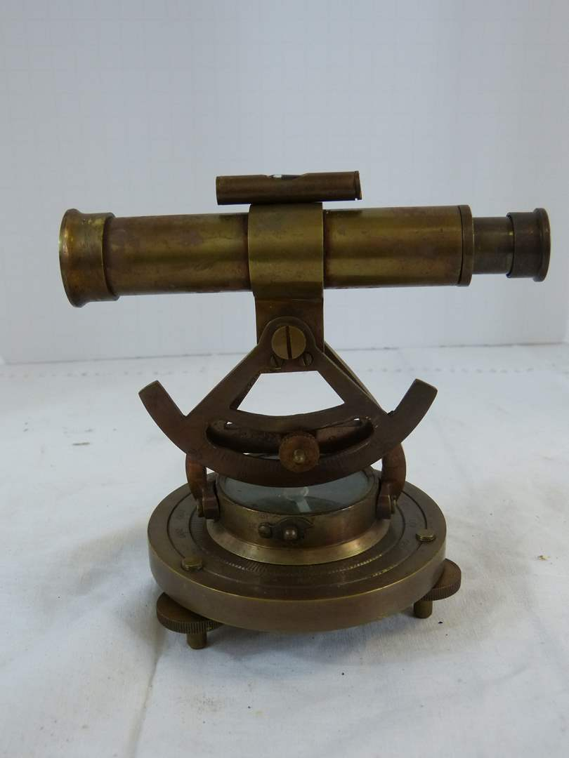 Lot # 161 Brass base Telescope & compass 5 1/2  (main image)