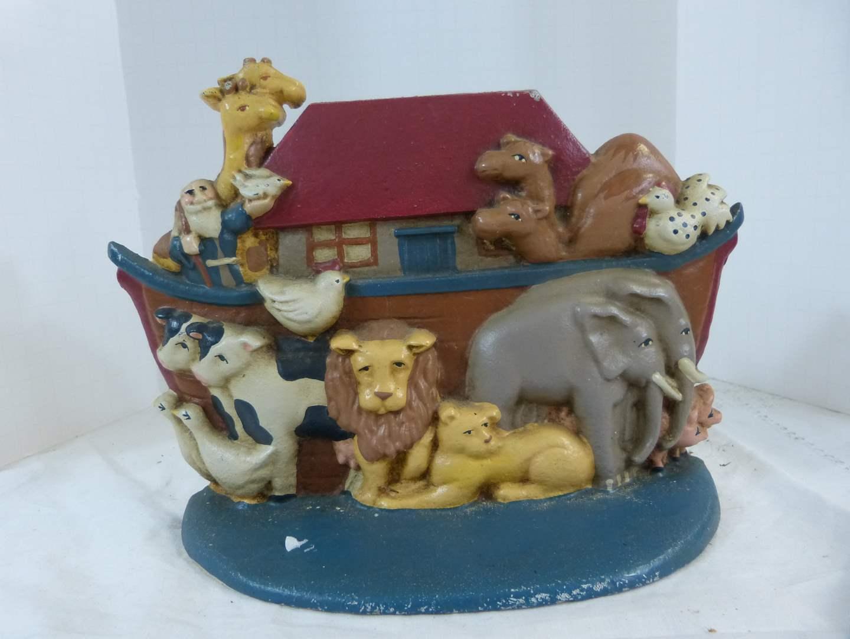 "Lot # 166 Great 6"" tall Noah's Ark Door stop Cast Iron (main image)"