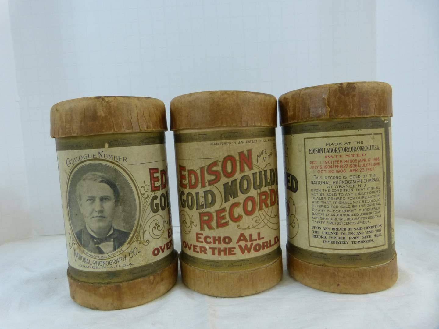 Lot # 171 3 Edison Gold Mould Records ANTIQUE in cannisters (main image)