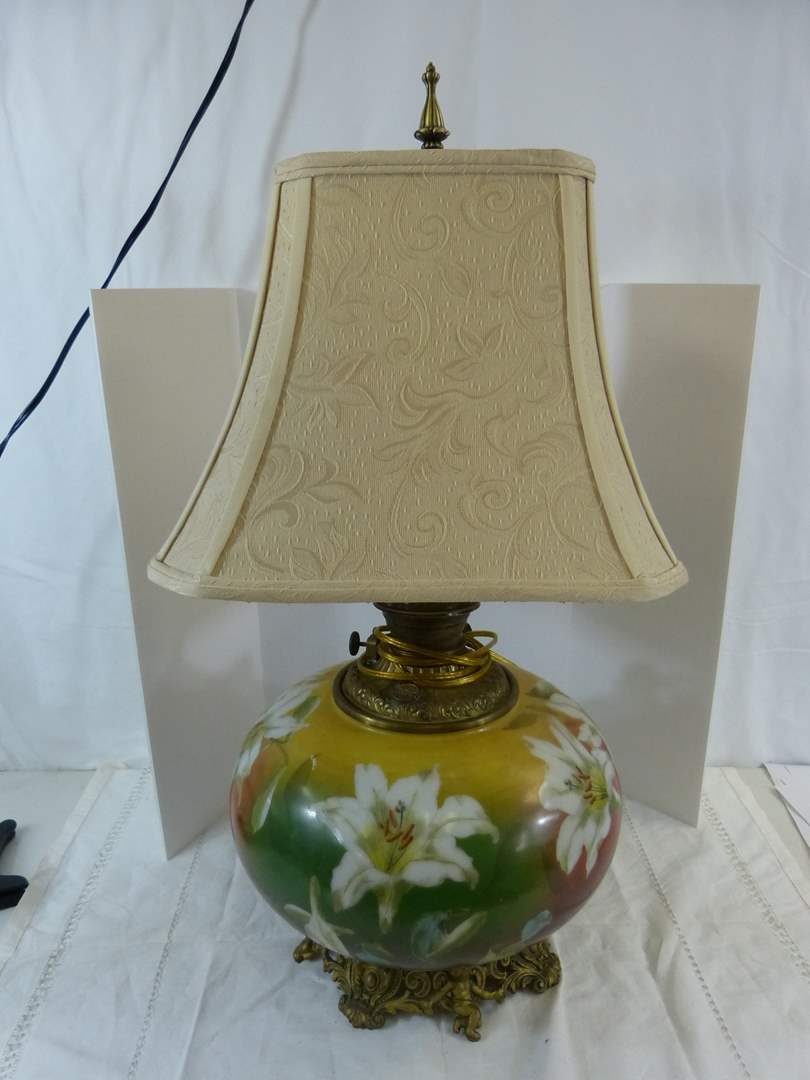 Lot # 180 Antique Gone with the Wind hand painted Oil lamp (been electrified but reversable) (main image)