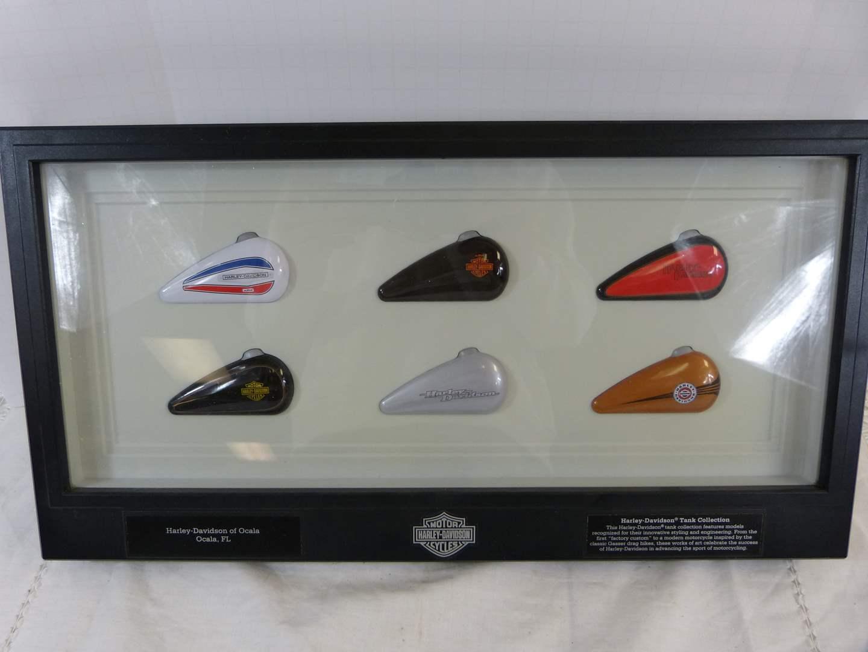 "Lot # 211 Nice collection of Harley Davidson Gas Tanks display 19X10"" (main image)"