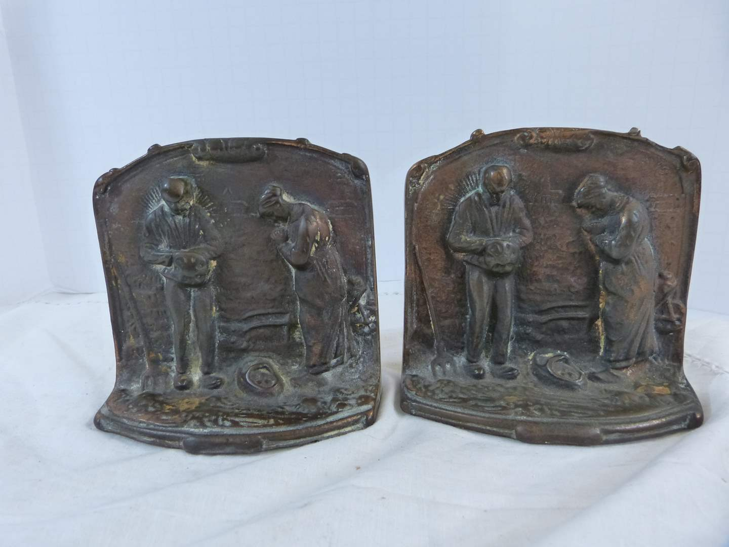 Lot # 227 Great vintage pair of peasant bookends Bronze? (main image)