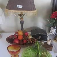 Auction Thumbnail for: Lot #51 lamp, glassware, decor