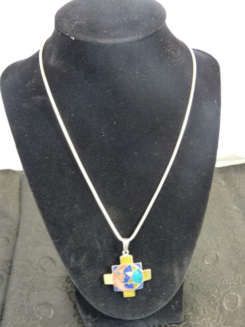 Lot # 237 Moon & Sun Enamel sterling pendant & sterling necklace (main image)
