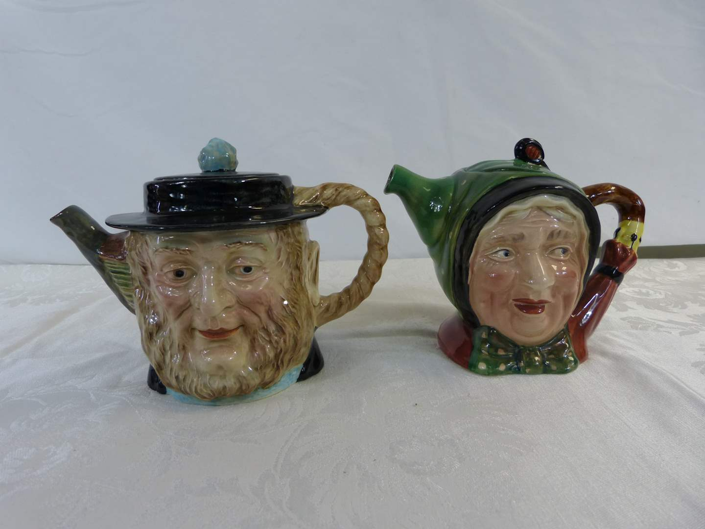 """Lot # 2 2 English teapots with lids 6"""" tall (both have slight damage see pictures) (main image)"""
