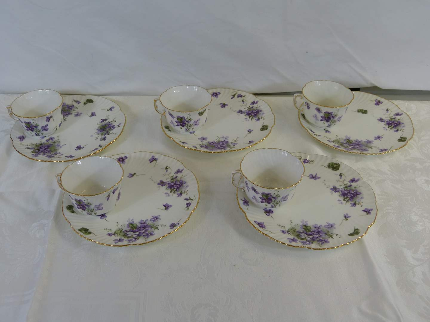 Lot # 21 AWESOME Hammersley Cup & under plate luncheon set Victorian Violets (5 RARE SETS) (main image)