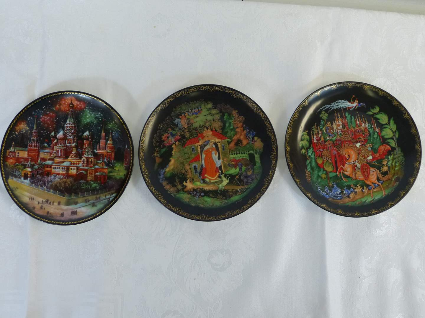 """Lot # 32 3 Russian Collection plates 7 1/2"""" across (main image)"""