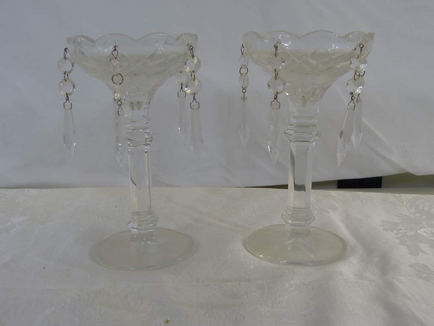 """Lot # 38 Pair prism candle holders by Royal Gallery Chech Republic 8"""" tall (main image)"""